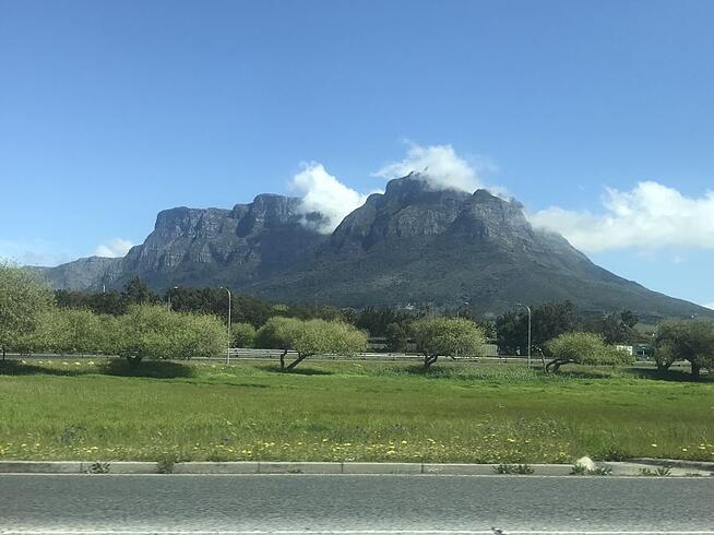 The team were greeted with beautiful blue skies over Table Mountain on arrival!