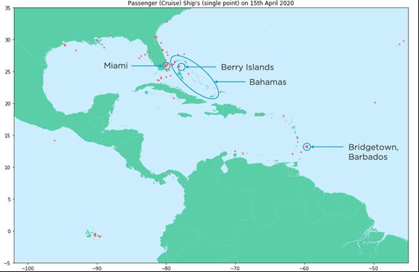 Cruise Ship Locations (Caribbean): 15 April 2020