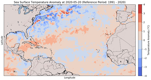 Sea Surface Temperature Anomalies – 2020